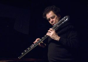 playing bass flute at The Stone, NYC    photo by Scott Friedlander