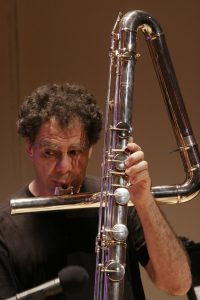 RD with contrabass flute, Merkin Hall, NY   photo by Anibal Pella-Woo